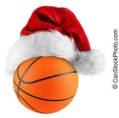 basketball santa hat - santa hat on basketball on white...
