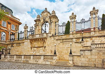 Gates in the territory of Budapest Royal Castle at day time....
