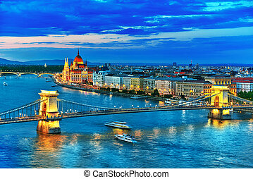 Szechenyi Chain Bridge and Parliament at dusk from Fisherman...