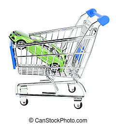 car shop cart - car in shop cart on white background