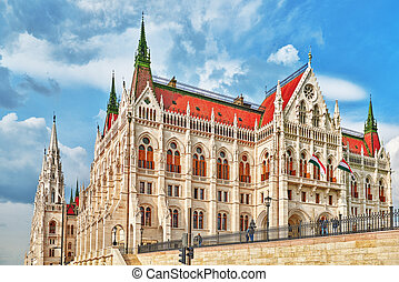 People near Hungarian Parliament close-up Budapest One of...