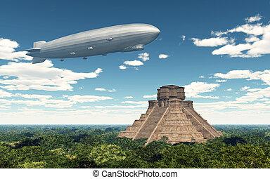 Airship and Maya temple - Computer generated 3D illustration...