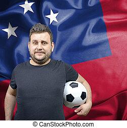 orgoglioso, football, ventilatore, di, Samoa