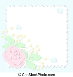 Abstract 3D image in paper style with flowers