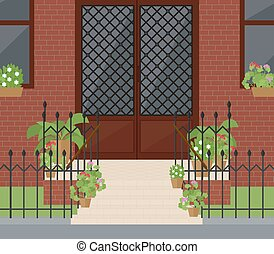 Flat vector illustration of facade doors with stairs