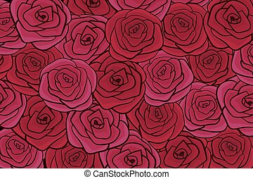 Flat red roses vector illustration