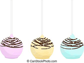 Set of isolated flat cake pop. Cupcakes round shape on a...