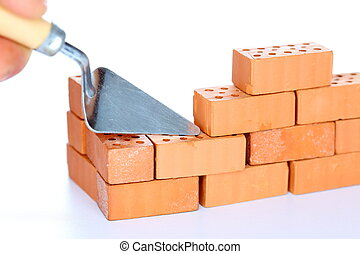 symbolic buildup of a wall on white background