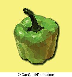 Green polygonal capsicum. - Green bell pepper vector...