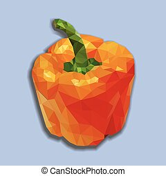 Orange polygonal capsicum - Orange bell pepper vector...
