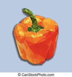 Orange polygonal capsicum