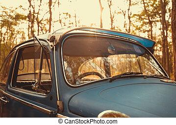 vintage car Volkswagen retro blue color in Forest Leaves...