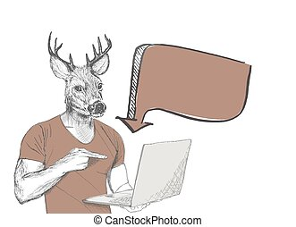 Hipster deer pointing at laptop screen against white background.