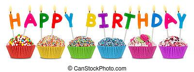 生日,  Cupcakes, 愉快