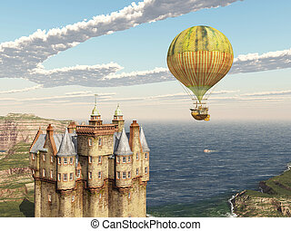 Scottish castle and hot air balloon - Computer generated 3D...