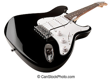 electric guitar 1 - black white electric guitar in front of...