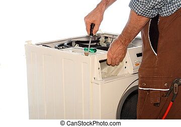 worker is fixing a clothes washer with white background