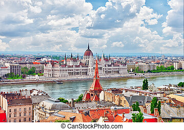 Panorama View on Budapest city from Fisherman Bastion...