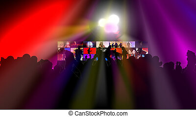 Animation showing various people dancing against a screen