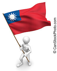 Men with flag. Taiwan