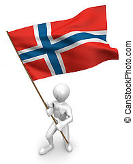 Men with flag. Norway