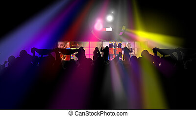 Animation showing group of people dancing against a screen
