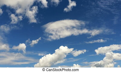 White Clouds and Blue Sky slow mooving at day time, 4k