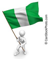 Men with flag. Nigeria