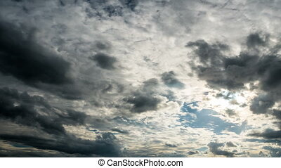 Cloudscape with gray rain clouds , time lapse 4k