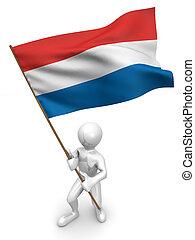 Men with flag. Netherlands. 3d