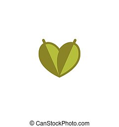 Isolated vector green logo. Simple flat logotype. Leaves icon. Heart abstract natural symbol. Vegetarian land eco agricultural logo. Save ecology sign. Floral icon.