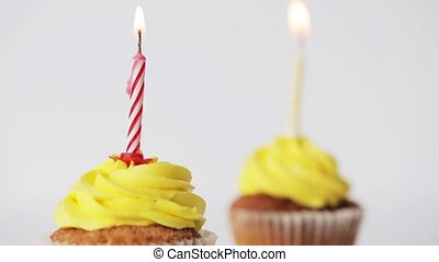 birthday cupcakes with burning candles - holiday,...