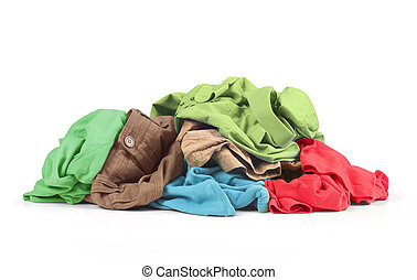 Clothes over white background