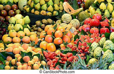 Fruits and vegetables at open market