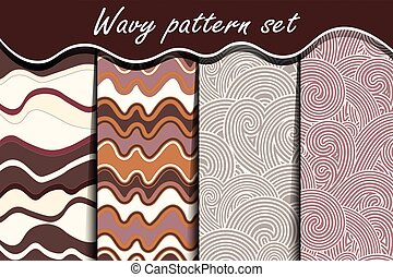 Chocolate waves seamless pattern set.