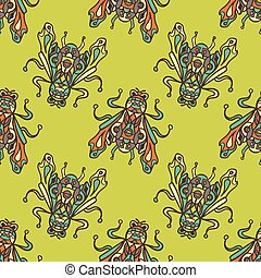 Small flies trendy illustrationon a bright background -...
