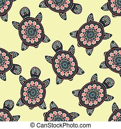 Seamless pattern with hand painted turtles. Seamless animal...