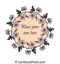 Lilac eglantine frame. - Vector round frame with the briar...