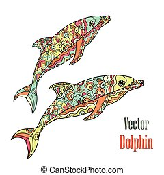 Dolphins couple. Vector. - Vector hand drawn dolphin doodle...