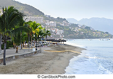 Puerto Vallarta beach, Mexico - Beach and Malecon on Pacific...