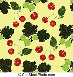 Cherry and gooseberry seamless pattern. Realistic...