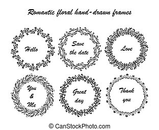 Romantic froral hand-drown frames - Hand drawn vintage...