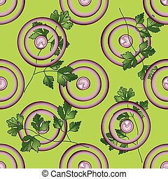 Slice purple onion with greenery - Onion, parsley vector...