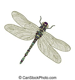 Mosaic stylized dragonfly. Ethnic colorful patterned vector...
