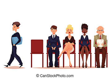 Business people, men and women, waiting for job interview