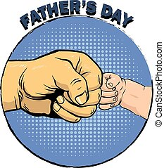 Happy fathers day poster in retro comic style. Pop art...