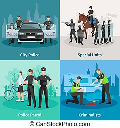 Police People Flat 2x2 Design Concept - Police people 2x2...