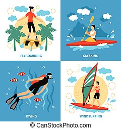 Water Sport Concept Icons Set - Water Sport Concept. Water...