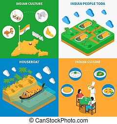 Indian Culture 4 Isometric Icons Square