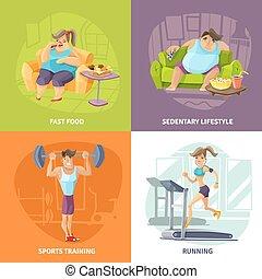 salud, obesidad, concepto, Conjunto, iconos